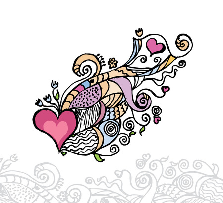 heart pattern: Heart of love  doodle Illustration