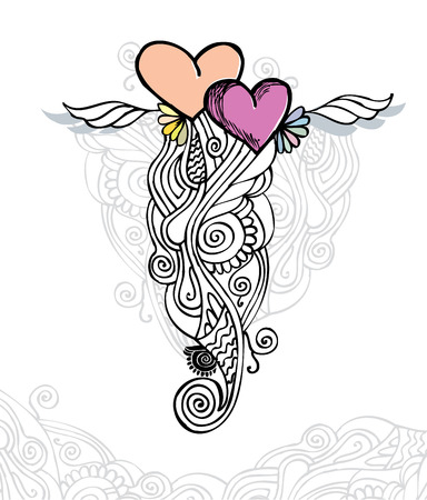 heart and wings: Heart of love  doodle Illustration