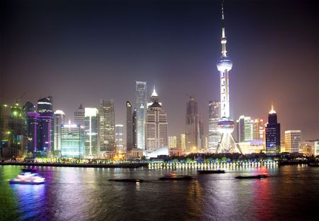 east river: Night view of Shanghai, China   Pudong  modern buildings