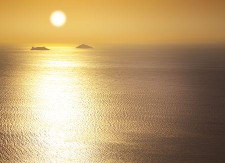 marmara: Marmara Sea  sunrise  silhouettes of the islands  space for your text