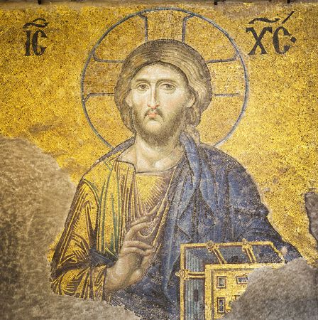 jesus face: Mosaic of Jesus Christ found in the old church of Hagia Sophia in Istanbul, Turkey.