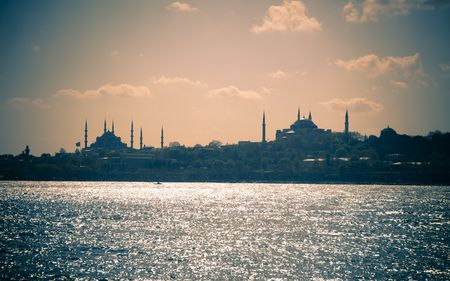 Cityscape of Istanbul  Blue Mosque and Hagia Sofia  Silhouettes  split toning photo