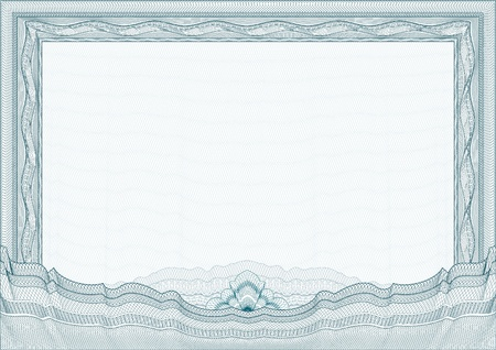 Classic guilloche border for diploma or certificate with protective ornament Vector