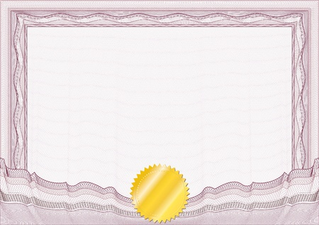 Classic guilloche border for diploma or certificate with gold seal  vector A4 horizontal  CMYK color   Layers are separated! Editing is easy Vector