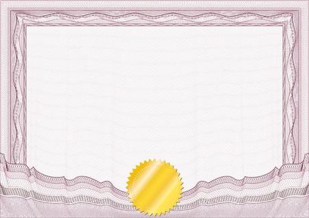 certificat diplome: Classique guilloch� fronti�re de dipl�me ou de certificat avec le sceau d'or  vecteur  A4 horizontal  CMJN  couches sont s�par�es! Le montage est facile de