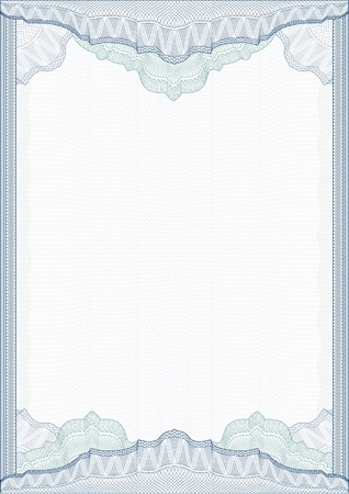 Classic guilloche border for diploma or certificate with protective  ornament   vector A4 vertical  CMYK color   Layers are separated! Editing is easy Vector