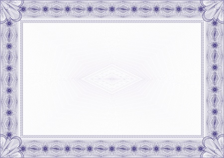 Classic guilloche border for diploma or certificate with protective  ornament    vector A4 horizontal  CMYK color   Layers are separated! Editing is easy Vector