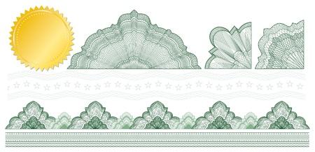 guilloche pattern: Elementos de labrado cl�sico para hacen diploma o certificado con oro sellar