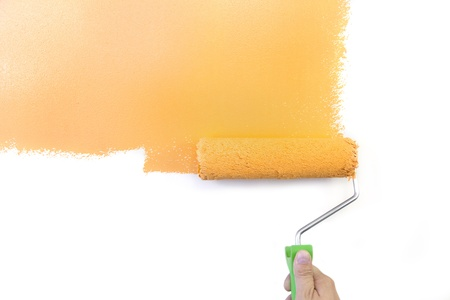 Painting - Home Improvement  Orange  isolated on white background photo