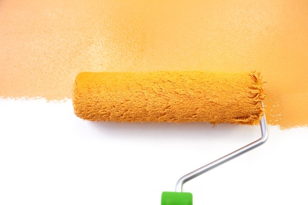 bright paintings: Painting - Home Improvement  Orange  isolated on white background