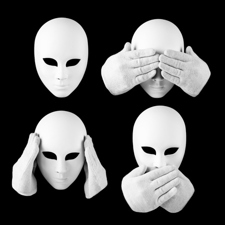 important information: See nothing, hear nothing, nothing will not tell anyone  mask and hands