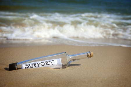 Message in a bottle  Support  deserted beach photo
