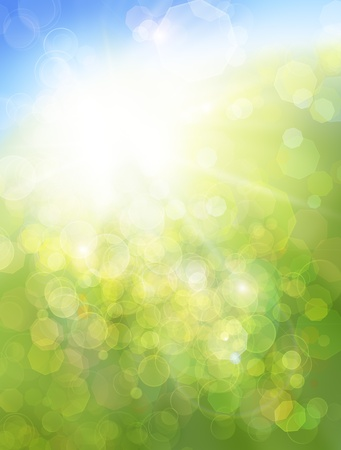 Eco nature  green and blue abstract defocused background with sunshine photo