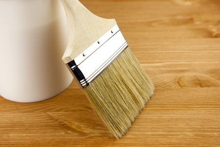 Wood texture, can and paintbrush  housework photo