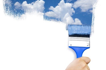home improvements: Painting sky  isolated on white with real paints texture  copy space for your text Stock Photo