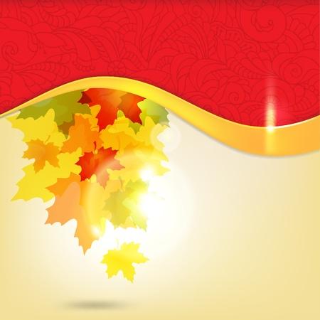 hojas parra: Fondo otoñal con hojas y copia de espacio para el texto  eps10