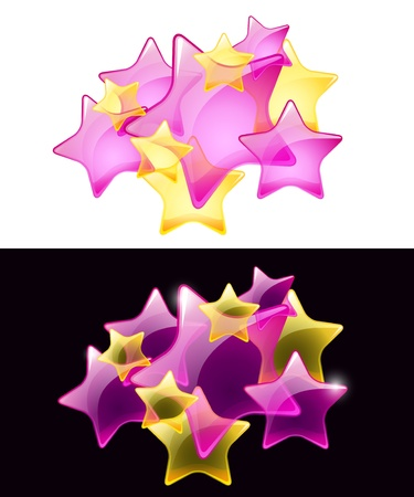 Stars with transparency,easy use on white or black background. Vector