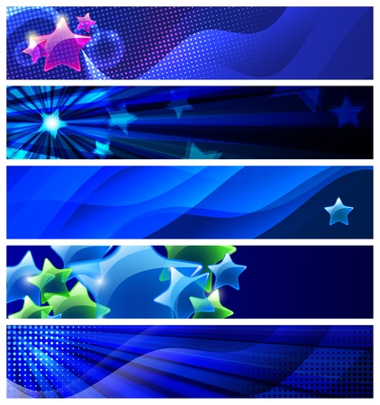 blue box: Set of five stars  banners modern backgrounds  Illustration