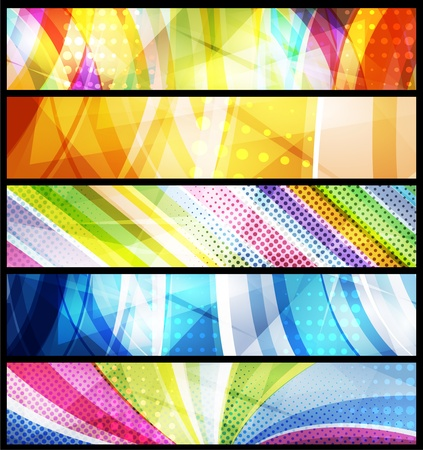 blue background: Set of five abstract  banners modern backgrounds