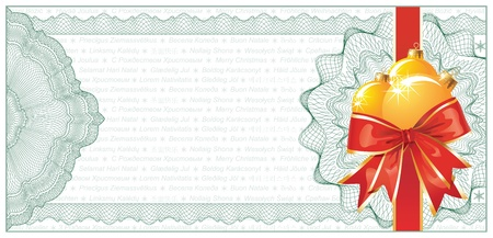 prepaid card: Golden Christmas Gift Certificate or Discount Coupon template  with text  Illustration