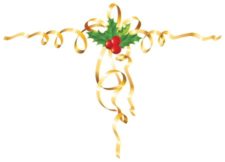 Christmas Holly with gold ribbon  Vector