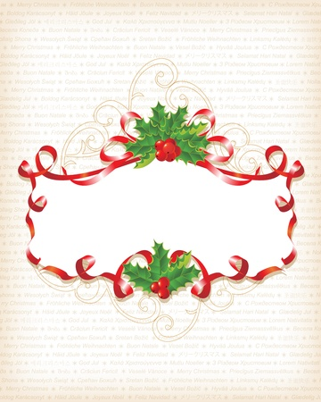 holiday garland: Christmas Holly Banner Background with text  Illustration