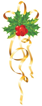 xmas floral: Christmas Holly with gold ribbon
