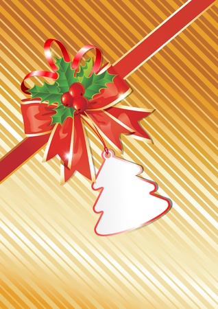 xmas floral: Christmas Background with Gift Tag,  Red Bow and beautiful Holly