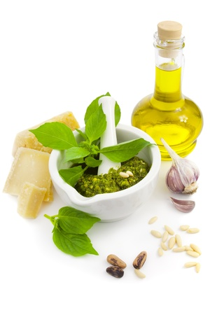 Fresh Italian Pesto and its ingredients / isolated on white Stock Photo - 11272321