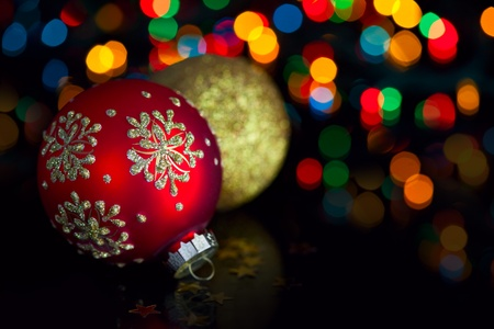Christmas decoration on defocused lights background Stock Photo - 11272322