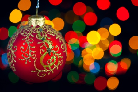 Christmas decoration on defocused lights background photo