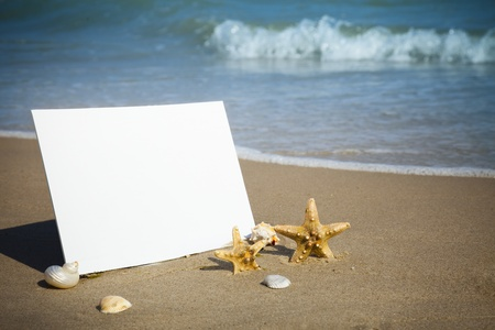 caribbean climate: Summer,  sea   Empty beach paper, you add the announcement. Stock Photo