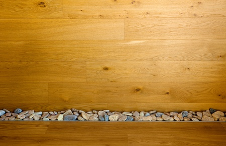 Wooden Wall and Floor with Stones line   real modern interior Stock Photo - 12431833