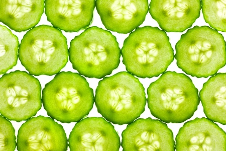 abstract food: Slices of fresh Cucumber  background  back lit