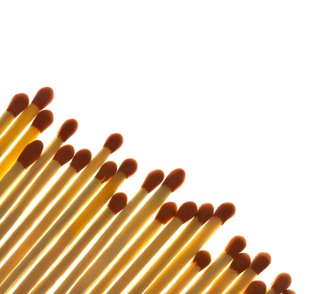 Set of Matches close-up on white background  with copy space  back lit photo
