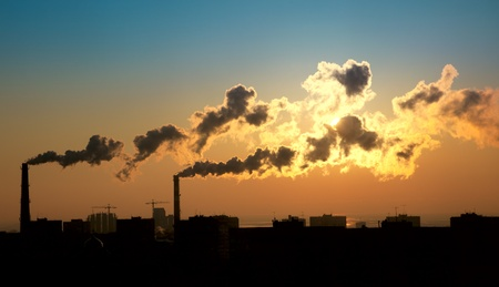 Exhaust smoke  Air pollution  Sunrise  Silhuette photo