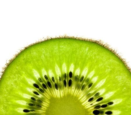 Slice of a fresh Kiwi  Super Macro   back lit photo