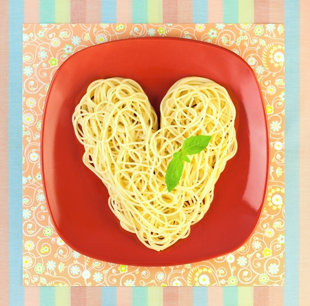 I love Pasta  Spaghetti with plate and tablecloth   Heart Shape photo