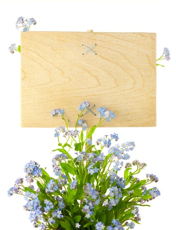Wood Sign with Flowers  empty board for your text   isolated on a white photo