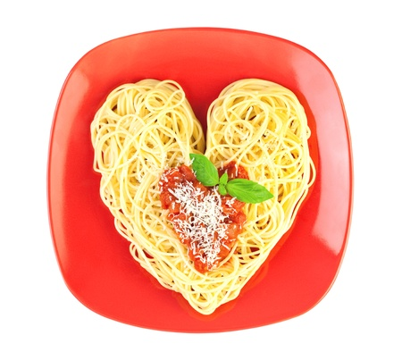 I love Pasta  Spaghetti isolated on white  Heart Shape photo