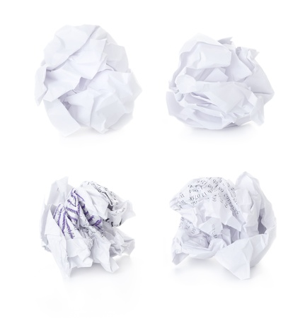 crumpled paper: Set of  Office Crumpled Paper Balls  blank and used up  isolated