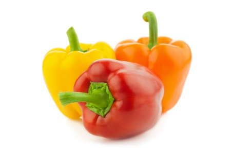 Colored Fresh Peppers Vegetable  Paprika  Isolated on a white background photo