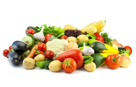 Healthy Eating  Assortment of fresh Organic Vegetables   Isolated over White Background Stock Photo