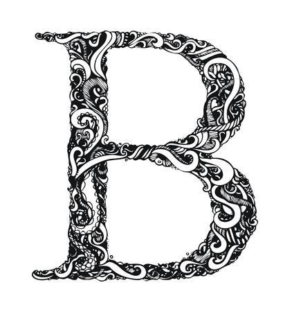 letras negras: Capital de la letra B - caligr�fico estilo vintage Swirly  Dibujado a mano  un elemento - f�cil cambio de color  Vector Vectores