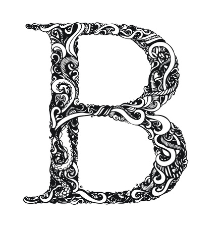 capital letters: Capital Letter B - Calligraphic Vintage Swirly Style  Hand Drawn  One Element - Color Change Easy  Vector