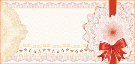 Guilloche Background for Gift Certificate, Voucher with  Red Bow  elements are in layers for easy editing Vector