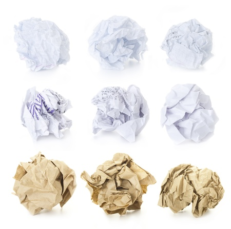 Set of  9 Crumpled Paper Balls - School Squared, Office and Brown Craft   blank and used up    isolated on white background photo