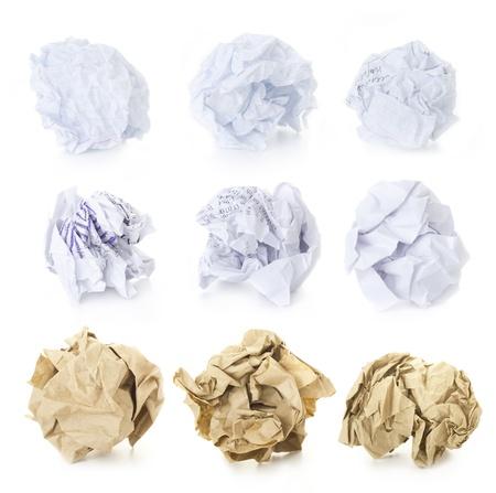 Set von 9 Crumpled Paper Balls - School Squared, Office und Brown Craft leer und verbraucht isoliert auf weißem Hintergrund Lizenzfreie Bilder