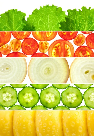 Vegetable Banners Colorful Collection / Set of 6 different mackro backgrounds Stock Photo - 18023341