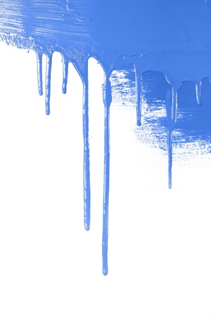 Blue paint  flows  isolated on white background with copy space  real photo photo